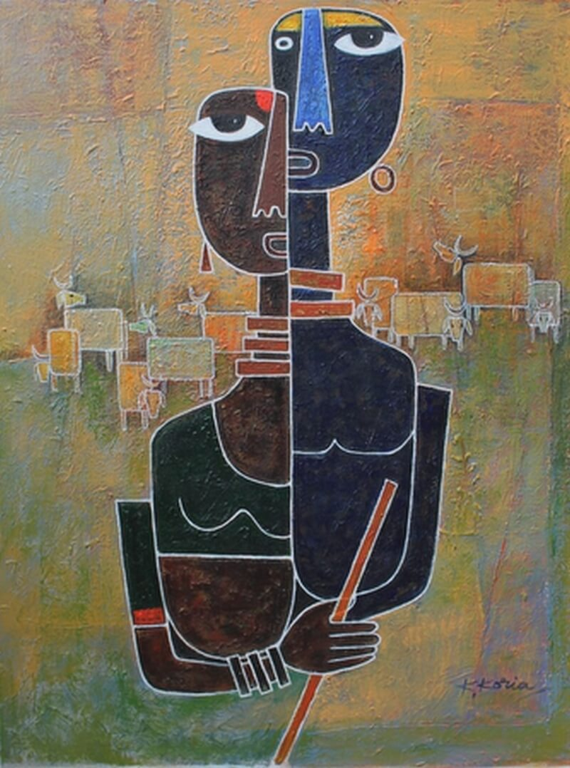 Krishna and Radha. This UK based artist adorns a cool contemporary style
